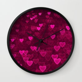Valentine's Day | Romantic Crimson Galaxy | Universe of pink purple hearts Wall Clock