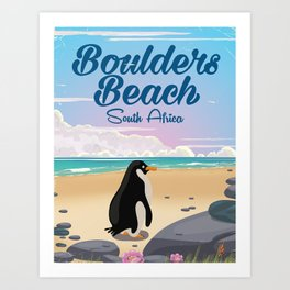 Boulders Beach South african penguin travel poster Art Print