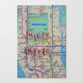 New York City, NYC Map, Subway, Travel Canvas Print