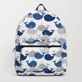 Nautical Whale Navy Blue Gray Backpack