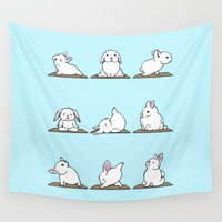 bunnies Wall Tapestries featuring Bunnies Yoga by Huebucket