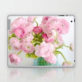 Dreamy Shabby Chic Ranunculus Peonies Roses Print - Spring Summer Garden Flowers Mason Jar Laptop & iPad Skin