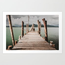 Jetty by the sea, moody view Art Print