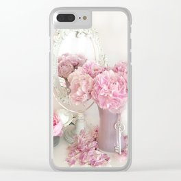 Shabby Chic Pink Peonies White Mirror Romantic Cottage Prints Home Decor Clear iPhone Case