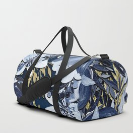 Navy Blue & Gold Watercolor Floral Duffle Bag