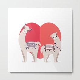 Llama and Alpaca with love Metal Print