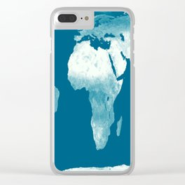 World Map Teal Clear iPhone Case