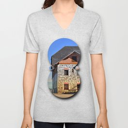 Traditional farm with beautiful front | architectural photography Unisex V-Neck