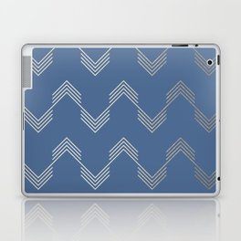 Simply Deconstructed Chevron White Gold Sands  on Aegean Blue Laptop & iPad Skin