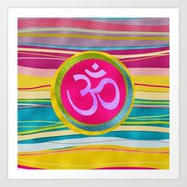 Colorfull Glitter OM symbol on  Pattern Art Print