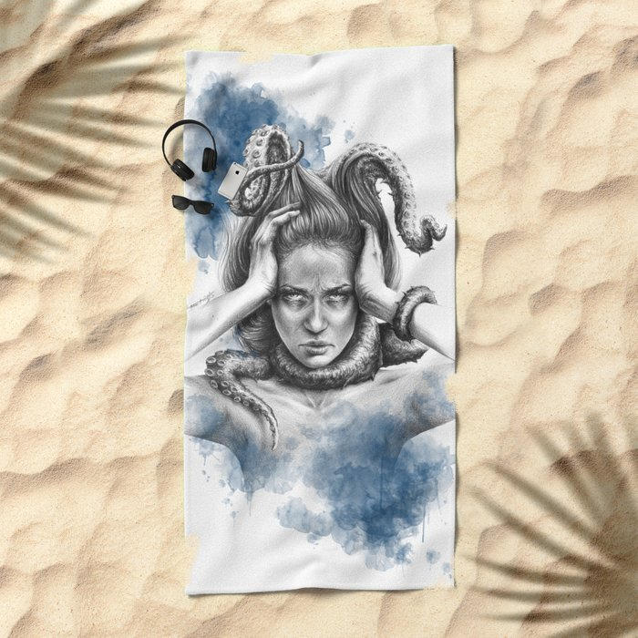 Nothing kills me like my mind Beach Towel