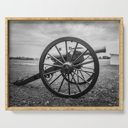 Monocacy National Battlefield Civil War Cannon Black and White Photography National Park Maryland Serving Tray