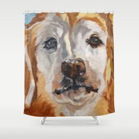 gemma Shower Curtains featuring Gemma the Golden Retriever by Barking Dog Creations Studio