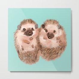 Twin Hedgehogs Metal Print