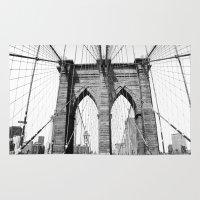 brooklyn bridge Area & Throw Rugs featuring Brooklyn Bridge by MadameBrightside