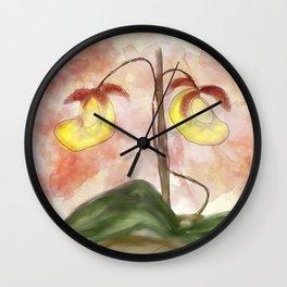 lady slipper orchid Wall Clock
