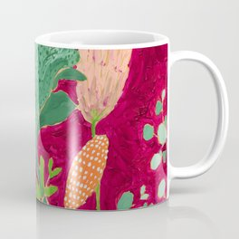 Fuchsia Pink Floral Jungle Painting Coffee Mug
