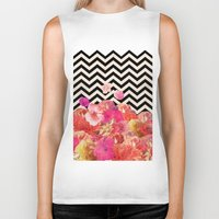 chaos Biker Tanks featuring Chevron Flora II by Bianca Green