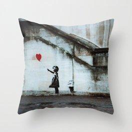 Banksy street art / photograph - girl with red ballon Throw Pillow