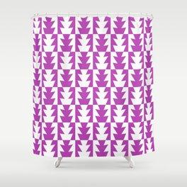 Art Deco Jagged Edge Pattern Magenta Shower Curtain