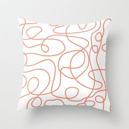 Doodle Line Art | Coral Lines on White Background Throw Pillow