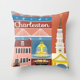 Charleston, South Carolina - Collage Illustration by Loose Petals Throw Pillow