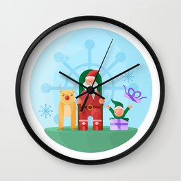 Santa Claus, Reindeer and his trusty friend Elf Wall Clock