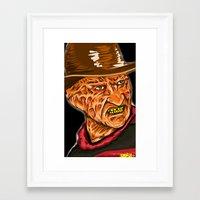 freddy krueger Framed Art Prints featuring Freddy Krueger by Art of Fernie