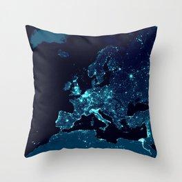 Earth's Night Lights : Teal Throw Pillow