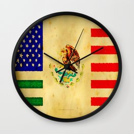 MEXICAN AMERICAN FLAG - 017 Wall Clock