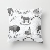 political Throw Pillows featuring Political Toile by Jessica Roux