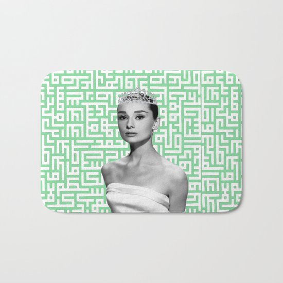 audrey with arabic calligraphy background Bath Mat
