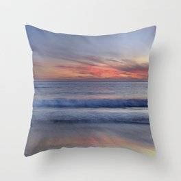 Magical Waves. Square.  Tarifa Beach At Red Sunset Throw Pillow