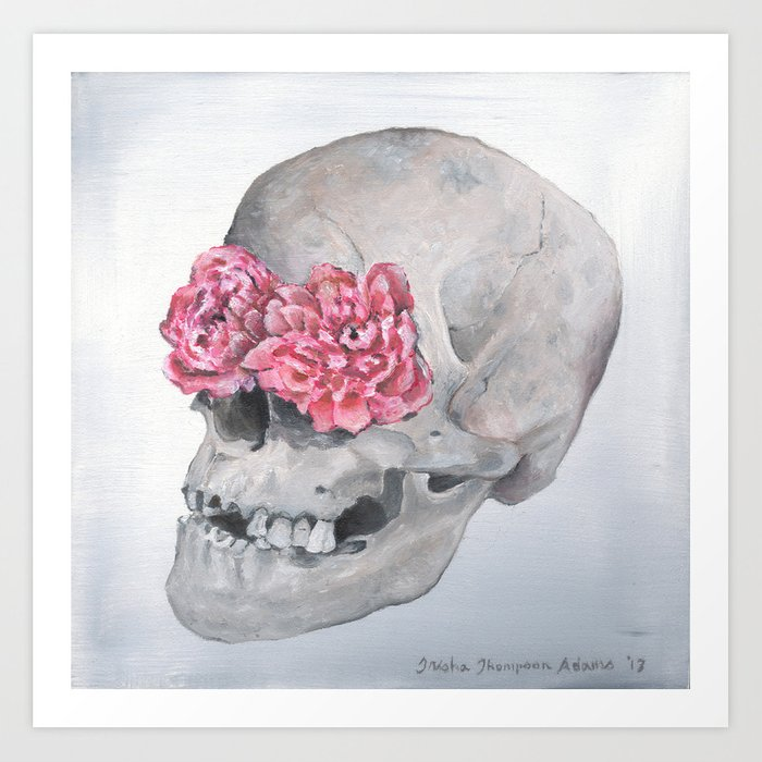 Floral Anatomy Skull Art Print by trishathompson | Society6