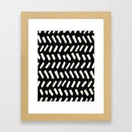 Tribal Dance Dot - Ivory on Black Framed Art Print