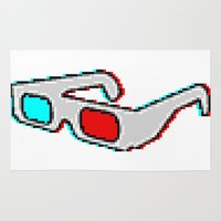 8 bit Area & Throw Rugs featuring 8 BIT GLASSES by DrakenStuff+