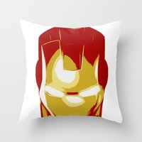 ironman Throw Pillows featuring Ironman by Adel