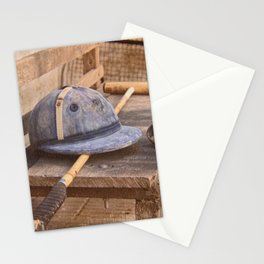 Old style polo equipment after the game Stationery Cards