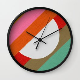 Diagonal Color Blocking – Rainbow Moon Wall Clock