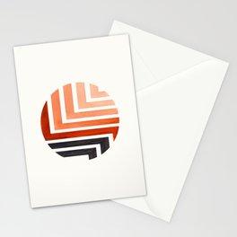 Burnt Sienna Circle Round Framed Mid Century Modern Aztec Geometric Pattern Maze Stationery Cards