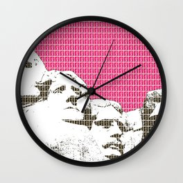 Mount Rushmore - Pink Wall Clock