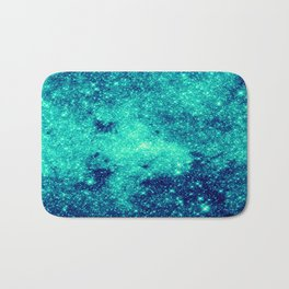 Teal Turquoise GalaXy. Sparkle Stars Bath Mat
