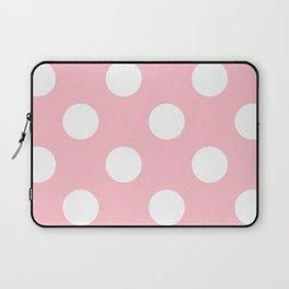 Large Polka Dots - White on Pink Laptop Sleeve