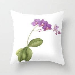 Flowering purple phalaenopsis orchid Throw Pillow