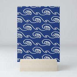 Ocean Sashiko Seamless Indigo Dye Pattern Mini Art Print