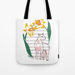 The Lamb of God (lamb and daffodils on a hymn) Tote Bag