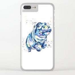 Hippo Colorful Watercolor Hippo Painting - Grace Clear iPhone Case