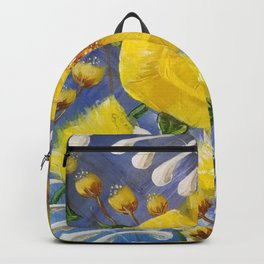 Yellow Bloom, Yellow Abstract Flowers, Yellow and Blue, Floral Prints, Modern Floral Backpack