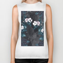 Night Garden Bees Wild Blackberry Biker Tank