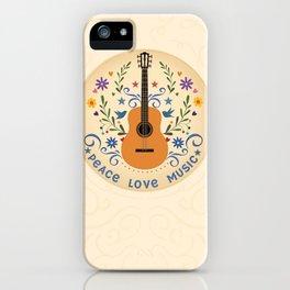 Peace Love And Music Folk Guitar Badge iPhone Case